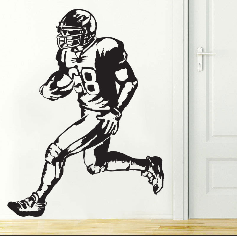 Removable Quarterback Football Player NFL Wall Decal Boys Room Decor Vinyl Sticker Wall Art Murals ES-69 image