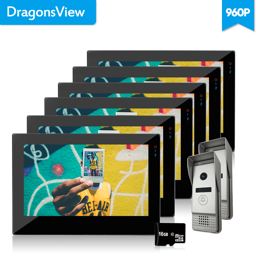 Dragonsview 7 Inch Touch-Screen Wired Video Door Phone 1.3MP Security Cameras Doorbell Intercom 960P Motion Recording Wide Angle