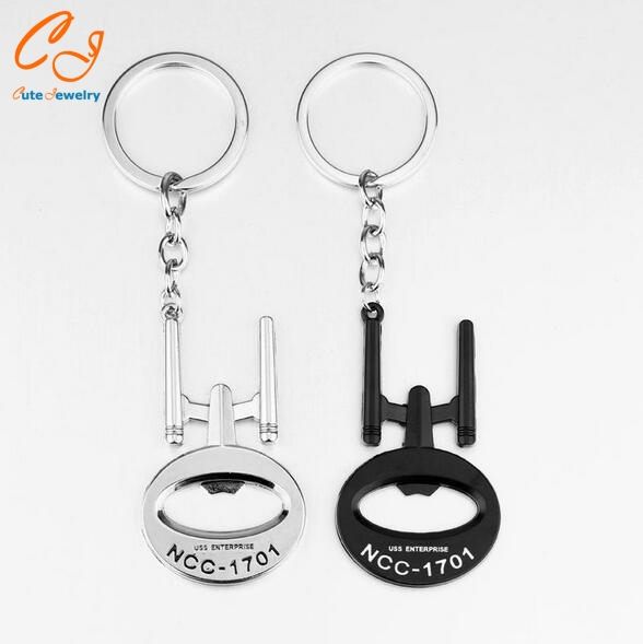 New arrival Star Trek Bottle Opener Keychain USS Enterprise model Keyring Key chain ring jewelry fashion pendant fans souvenirs