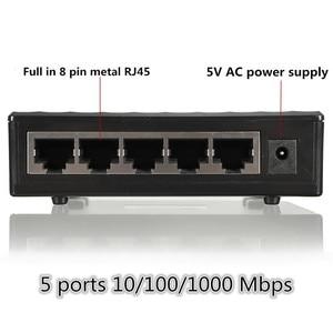 Image 5 - 10/100/1000Mbps شبكة التبديل 5 منافذ صغيرة جيجابت التبديل إيثرنت التبديل شبكة التبديل محور البلاستيك محول الذكية
