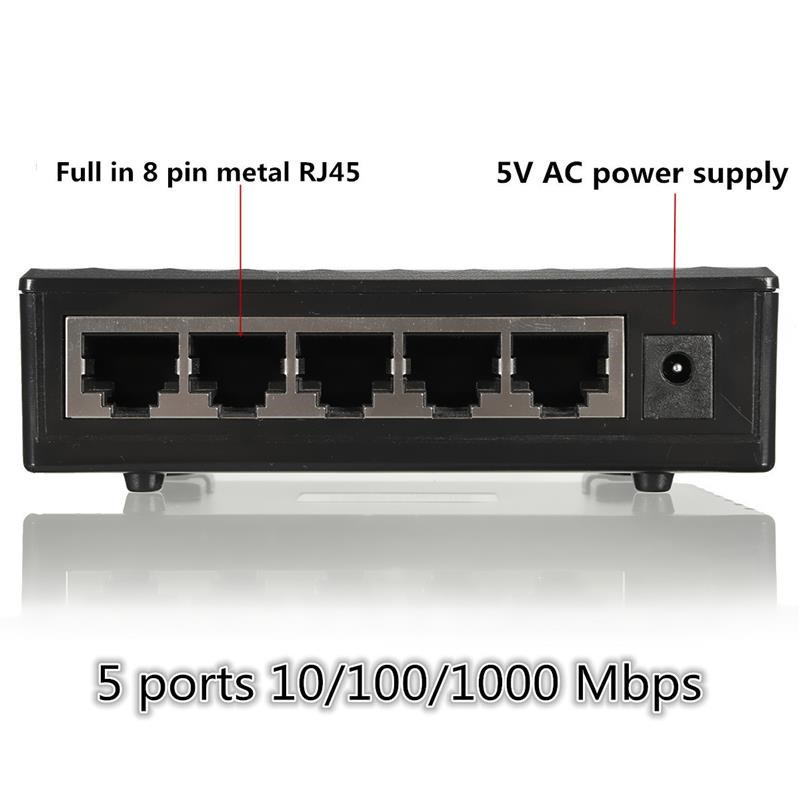Image 5 - 10/100/1000Mbps Network Switch 5 Ports Mini Gigabit Switch Ethernet Switch Network Switch Hub Plastic Smart Adapter-in Network Switches from Computer & Office