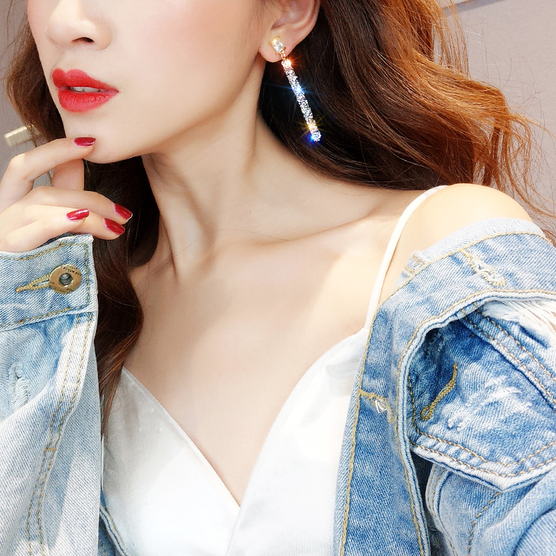 19 New Fashion Arrival Crystal Classic Geometric Long Dangle Earrings For Woman Female Jewelry Korean Simple Earrings 9