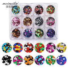 12Pcs/set Mixed Colors Round Sugar Nail Glitter Thin Paillette Nail Art DIY Colorful Dot Shapes Glitters Nails Decorations Tools