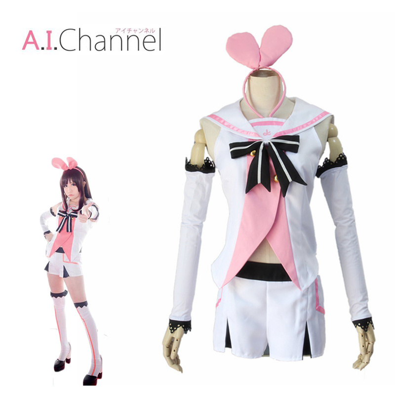 Kizuna AI Cosplay Virtual Youtuber Girl Costume Sailor Suits Headpiece Pants Gloves Socks Outfits Pink And White Fullset