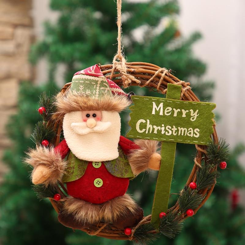 Generous 1pc Christmas Garland Simulation Snowman Door Rattan Hanging Wreath Decoration Ornament For Christmas Indoor Outdoor Party Christmas