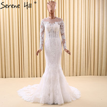 Long Sleeves Mermaid Tulle Vintage Wedding Dresses Beading Sequined Fashion Bridal Gown Robe De Mariee 2017 Real Photo