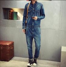 2017 New men Vintage tooling denim outerwear tide bodysuit slim trousers bib pants jeans jumpsuit overalls DJ singer costumes