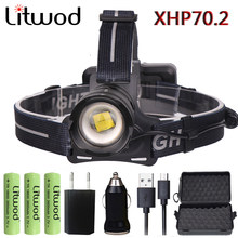 Litwod Z902808 Original XLamp XHP70.2 LED 32W zoom Led headlamp 4292lm The best brightest powerful head lamp flashlight lantern(China)