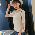Camisas Femininas Women Tops And Tees 2016 Fashion Winter Knitted Cotton Short Sleeve White T-Shirt Hole Korean Tshirt Black