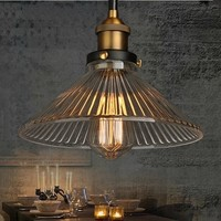 60W Retro Loft Style Edison Pendant light Vintage Industrial Lamp In Glass Lampshade Lamparas Industrial Vintage