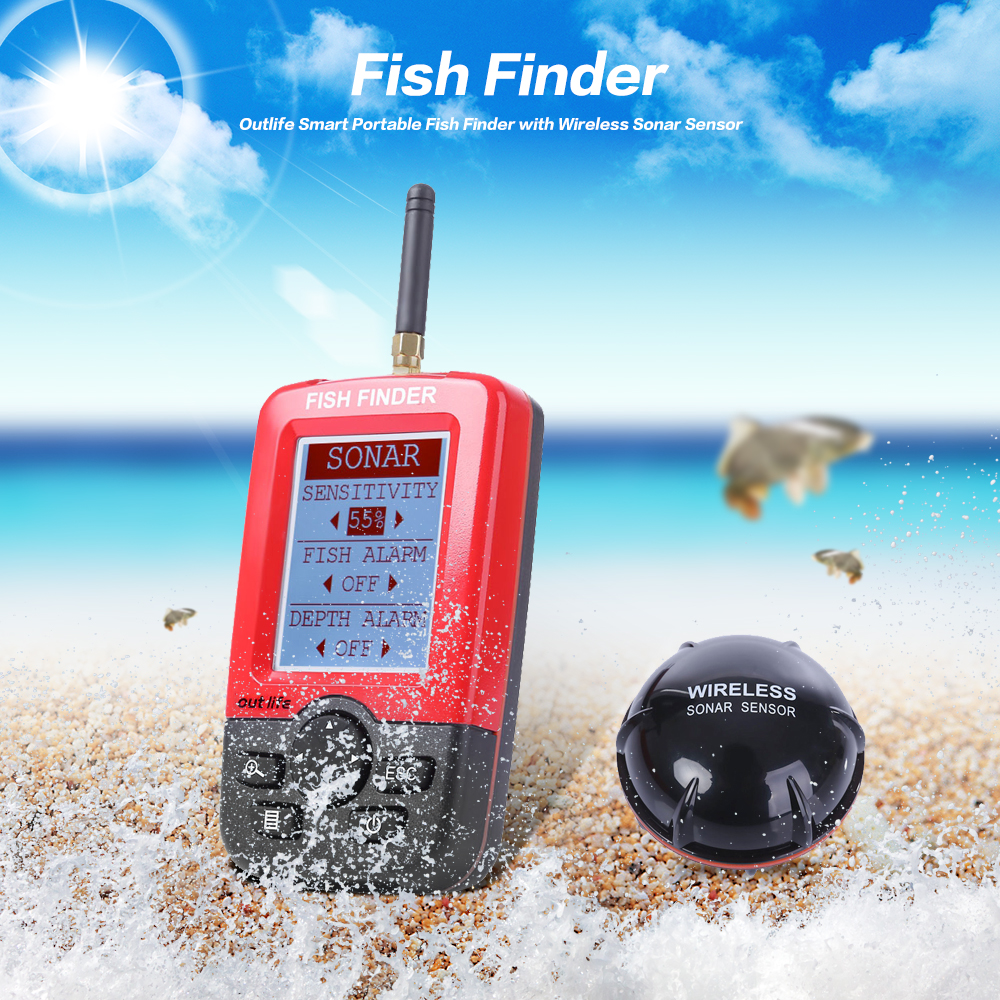 Outlife Smart Portable Fish Finder LCD Display with 100m Wireless Sonar Sensor echo sounder Fishfinder for Lake Sea Fishing lucky ffw1108 1 color lcd display portable wireless sonar fish finder water resistant 40m 120ft depth sonar sounder alarm b9