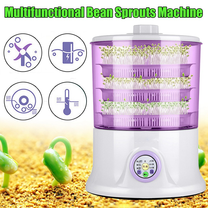Warmtoo 1Pcs 1.5L 220v Automatic Bean Sprouts Machine Multifunctional Homemade Sprout Double Layer Kitchen Food Processors