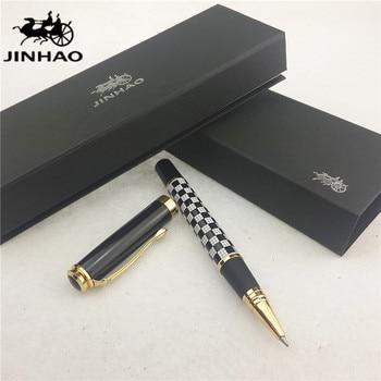 1 шт./лот Jinhao 500 РОЛИК ручка черно-белый ручка золотой клип сетки Стиль Kawaii Марка ручки Jinhao Ручка kawaii 13.6*1.8 см