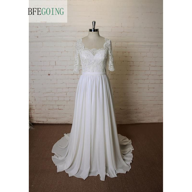 White Lace Chiffon A-Line Wedding Dress Chapel Train Floor-Length Half Sleeves  Real/ Original Photos