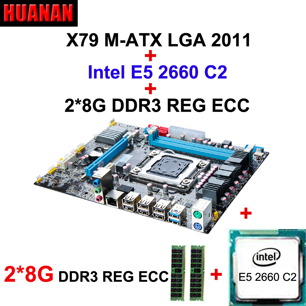Building computer HUANAN X79 motherboard CPU RAM combos X79 LGA2011 mainboard CPU Xeon E5 2660 C2 RAM 16G(2*8G) DDR3 REG ECC new x58 motherboard desktop computer lga1366 cpu pin supports ddr3 16g ecc reg serve ram sata2 0 usb2 0