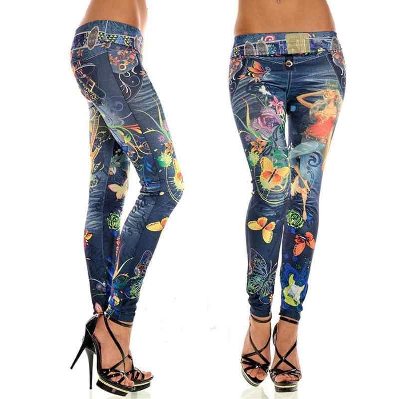 Elastische Knöchel-länge Schlank Punk Stil Faux Denim Bleistift Hosen Sexy Frauen Leggings Schmetterling Blume Gedruckt Nachahmung Jeans