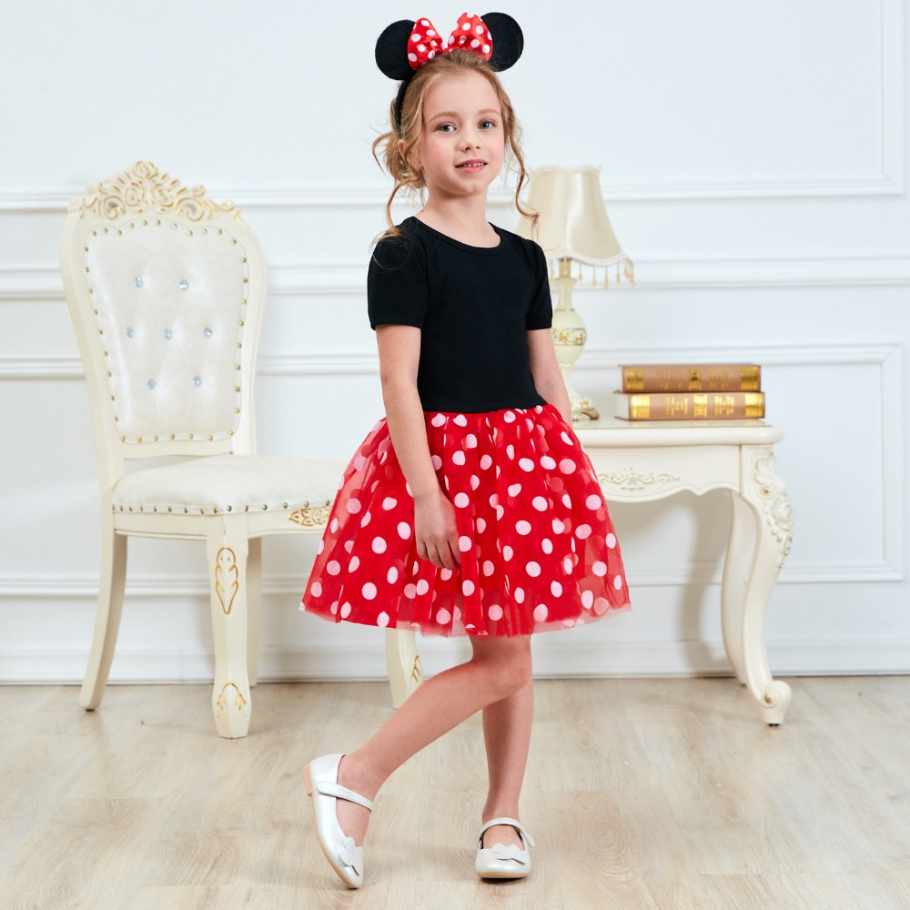 Fancy 1 Year Birthday Party Dress For Halloween Cosplay Minnie Mouse Dress Up Kid Costume Baby Girls Clothing For Kids 2 6t Wear
