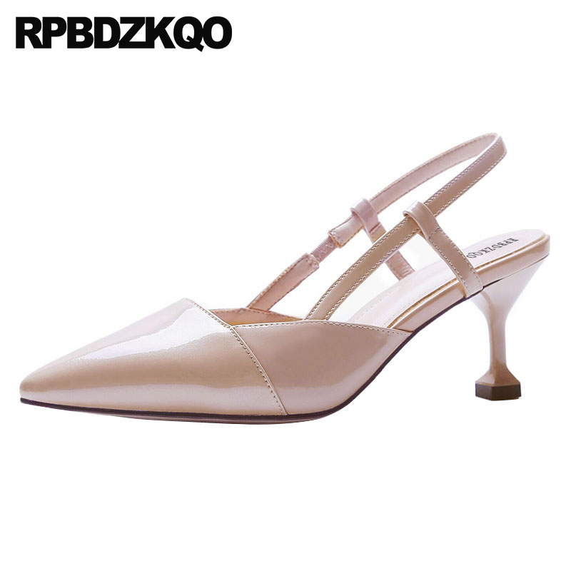 Elegant Spring Hot Women/'s Pumps Leather Slingbacks Block Heels Sandals Shoes