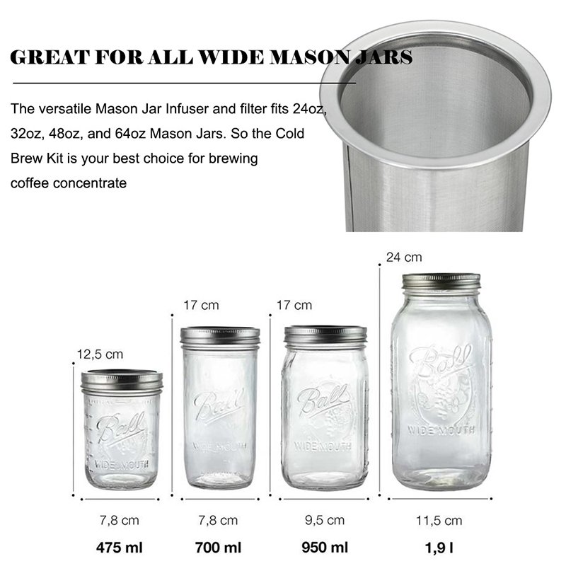 Coffee Tea Infuser Strainer Filter Stainless Steel Mesh for Wide Mouth Mason Jar