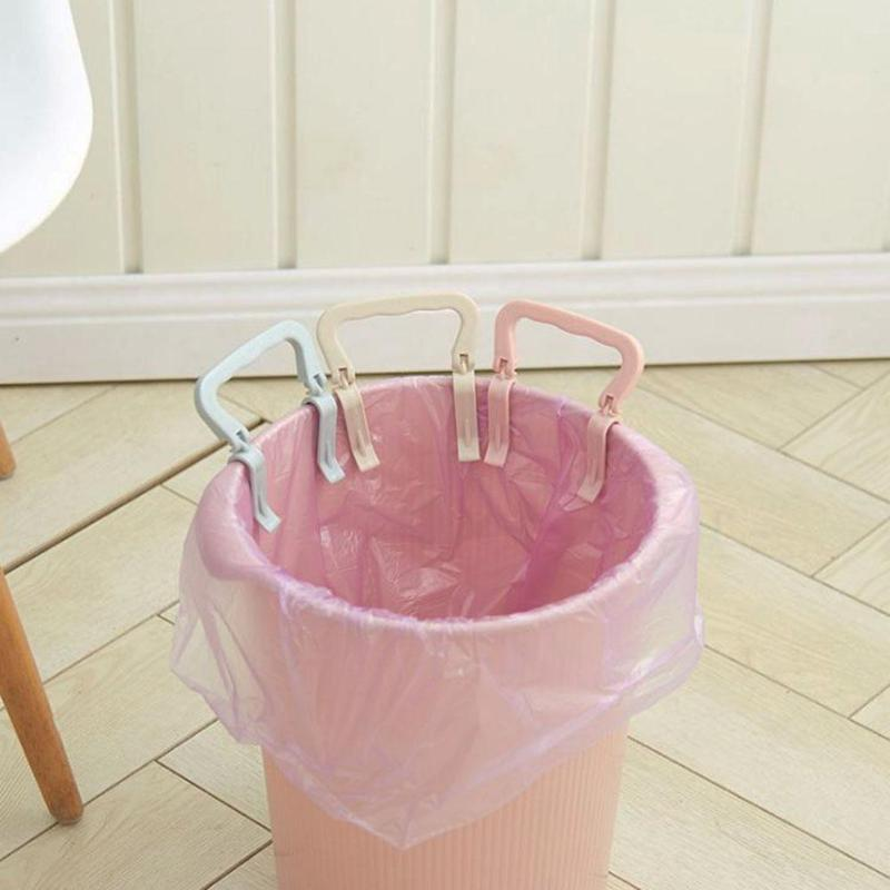 2pcs Creative Trash Can Clamp Plastic Garbage Bag Clip Fixed Kitchen Rubbish Bag Clip Waste Bin Holder