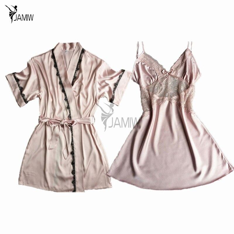 Brand two pieces women s robe gown sets short sleeve bridesmaid wedding kimono bathrobe night dress