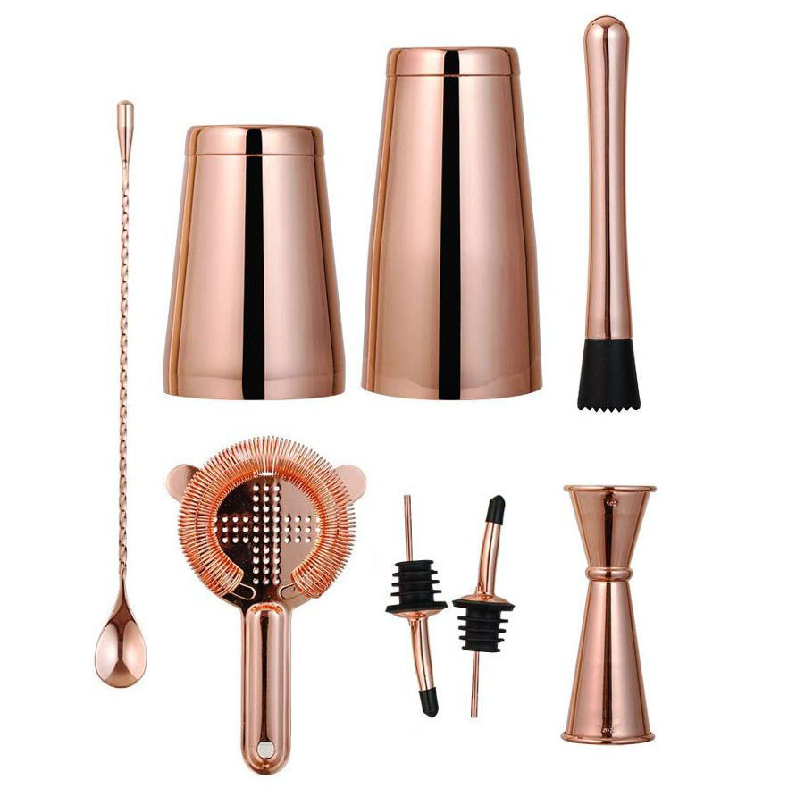 Cocktailshaker 28 OZ 304 Stainless Steel Copper Boston Shaker Set for bartender kit of 8 pieces Free shipping