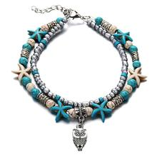 2019 The Latest Fashion Double Foot Chain Conch Sea Star Rice Beads Yoga Beach Turtle Pendant Bracelet