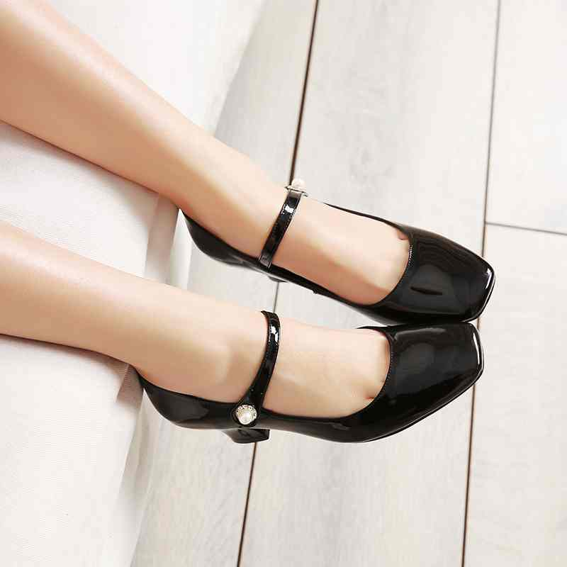 Подробнее о 2017 Shoes women fashion patent genuine leather square toe preppy style high heel buckle pumps high quality mary jane shoes 33 krazing pot new fashion brand gold shoes patent leather square toe preppy style med heels buckle women pumps mary jane shoes 90