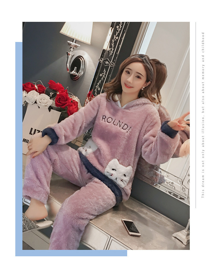 Winter Women Pajama Flannel Sleepwear Long Sleeves Hot Pajamas For Women Velvet Pajama Women Soft Clothing 99