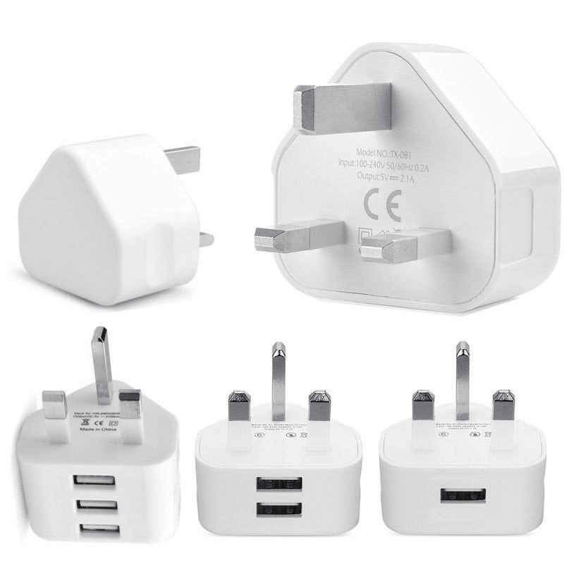 Universal 1/2/3-Port USB UK Plug 3 Pin Wall Charger Adapter with 1/2/3 USB Ports Travel Charger Charging for Phone X Samsung S9