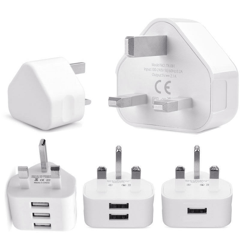 3-port Usb Uk Plug Portable Charger Universal Phone Tablet Pc Charging Head Travel Charger Adapter White High Quality J25 Mobile Phone Chargers Cellphones & Telecommunications