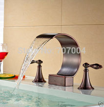 Wholesale and Retail Oil Rubbed Bronze 3 Holes Waterfall C Shape Spout Basin Faucet Basin Mixer