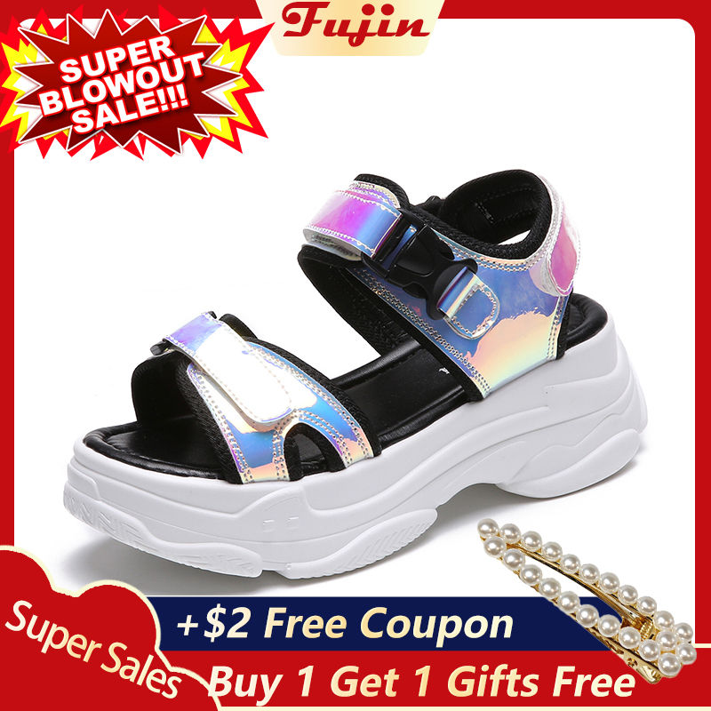 Fujin Summer Sandals Platform-Shoes Wedges-Buckle-Strap Ladies Bling 5cm Casual New-Fashion