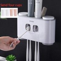 Lidar com escova de dentes creme dental automático dispensador de creme dental conjunto espremedor copo de parede montado acessórios do banheiro set|Economizador de creme dental| |  -