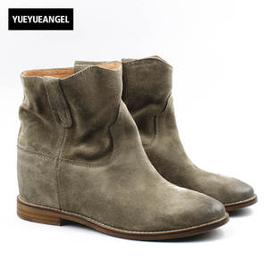 9a2995b2b4751c YueYueAngel Suede Leather Ankle Boot Boots For Woman Shoes