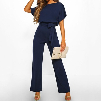 Women Cotton Bandage Jumpsuit Summer Fashion 2019 Short Sleeve Playsuits Clubwear Straight Leg With Belt Overalls Bodycon Ladies 3