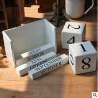 Creative Calendar European Style Wooden 1PC Home Furnishing Decorative Calendars DIY Cute Kawaii Wooden Perpetual Table