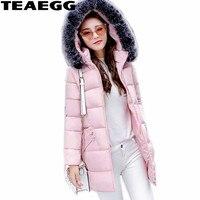 TEAEGG Hat Detachable Park Female Winter Jacket Women Faux Fur Collar Thick Warm Women's Winter Jackets Casacos Feminino AL383