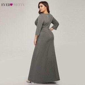 Image 2 - Artı boyutu basit gri abiye uzun hiç güzel v yaka tam kollu zarif resmi elbiseler EP07995 Vestidos De Festa 2020