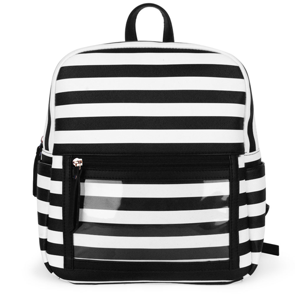 Women Backpack Purse Faux Leather Waterproof PVC Clear Zipper Display Pocket Bag for Essential Oils Storage Pouches