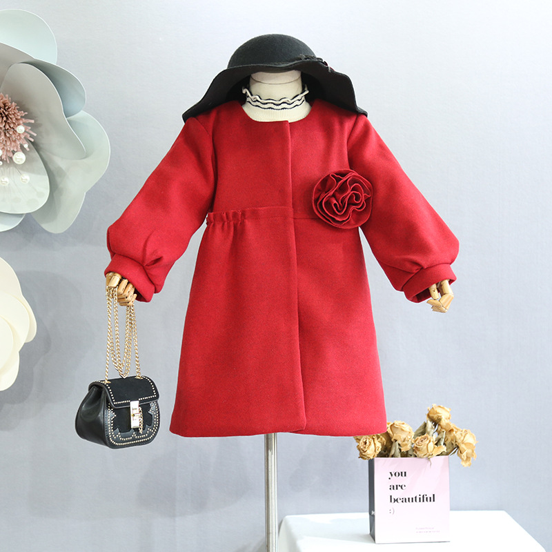 Girls autumn and winter coat coat 2018 Korean version of the sweet three-dimensional flower wool coat quilted thick coat coat gaudi coat