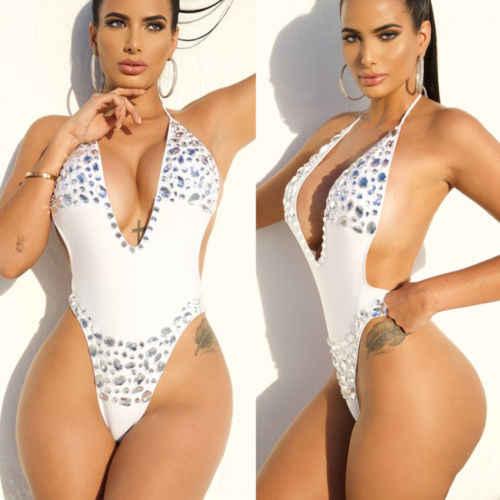 c765693e05e3a White Green Rhinestone Womens One Piece Sexy Backless Push Up Padded Bra  Bikini Monokini Swimwear