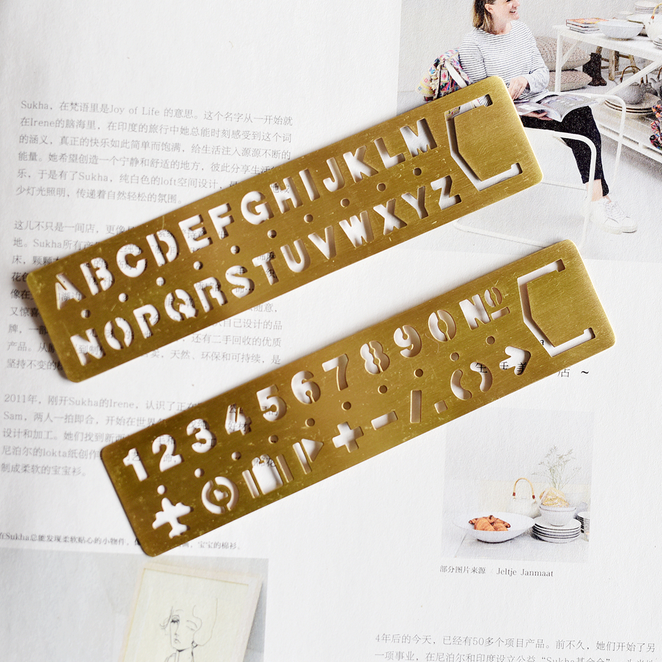 Vintage Brass Metal Multifunctional Bookmark Stencil Ruler DIY Tool Traveler's Notebook Diary Planner Accessories Stationery