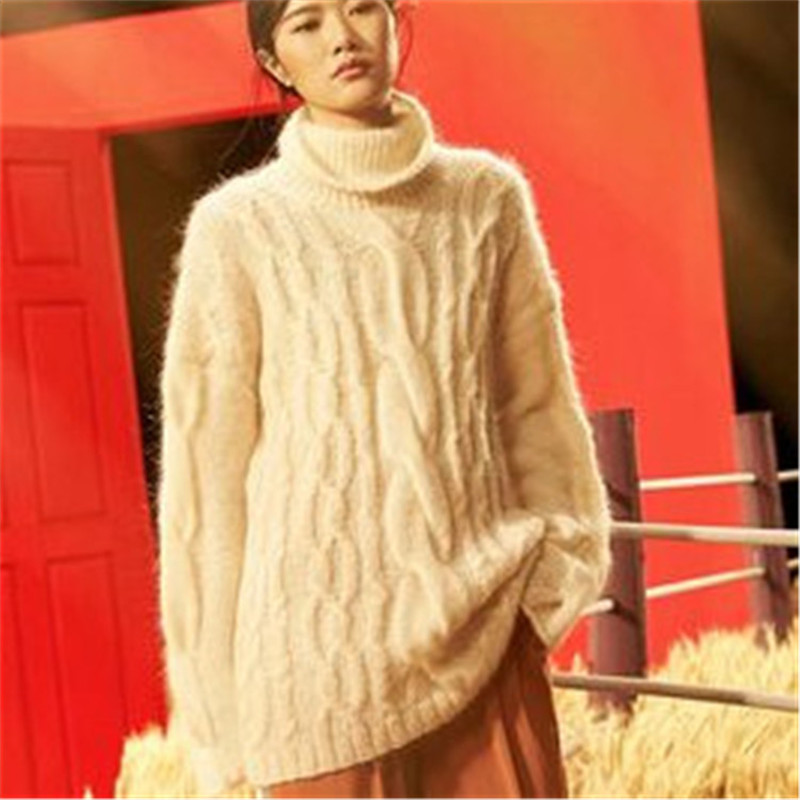100% Hand Made Wool Turtleneck Twisted Knit Women Streetwear Loose Thick Pullover Sweater One&over Size