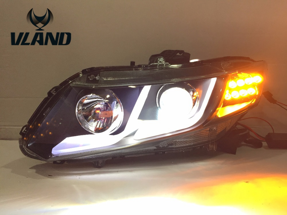 VLAND factory pour voiture lampe frontale pour Civic phare LED 2011 2012 2013 phare avec xénon HID projecteur lentille et DRL