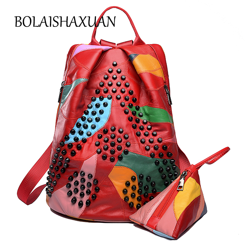Beaded Women Backpack Genuine Leather School Bags For Girls Teenager Soft Real Leather Backpacks Female Bag Pack sac a dos femme luyo 100% soft genuine leather women backpack for girls youth woman ladies laptop bag daily backpack school sac a dos travel
