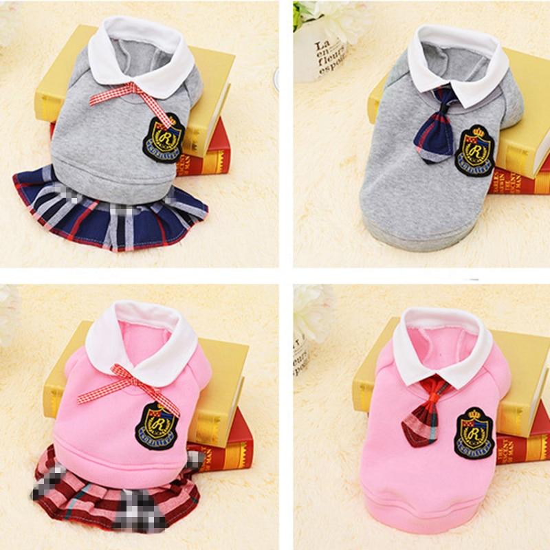 Skolas stila lolojumdzīvnieku suņu apģērbs Kaķis Čihuahua apģērbu kleita Kucēni Kucēna mētelis apģērbs maziem suņu apģērbiem Roupa Para Cachorro 4S1