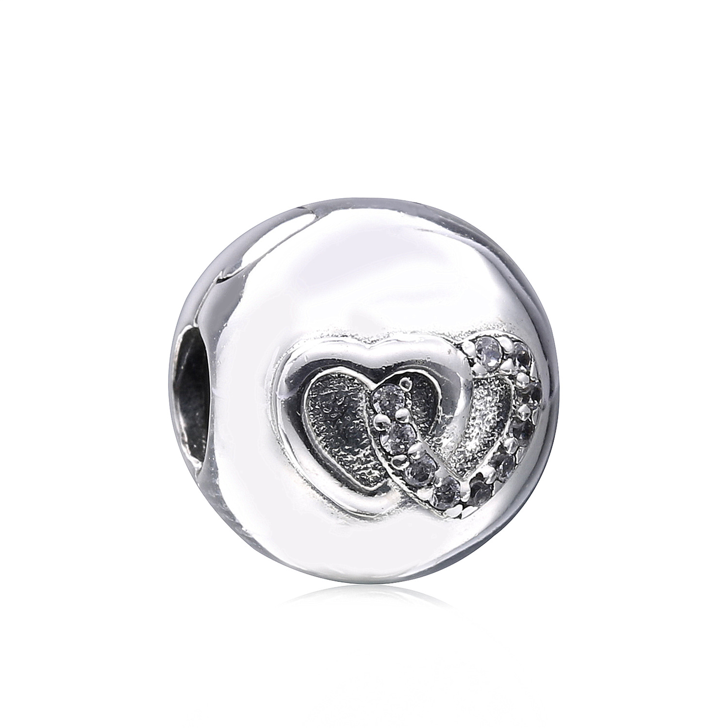 Heart Bond Stopper Beads For Jewelry Making 925 Sterling Silver Clear Cz Clip Charms Jewellery Fits Pandora Women Diy Bracelets