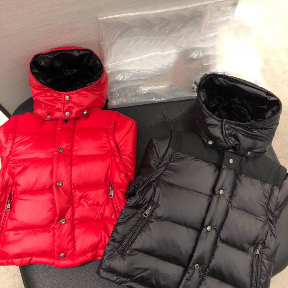 kid down jackets red black white duck down coat for boys girls autumn winter warm detachable down clothes in Later of August ruffled button down blouse in black