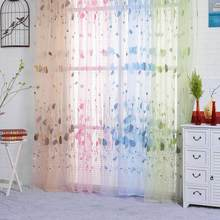 Tulip Printed Tulle Window Curtains for Bedroom Living Room Sheer Drape Panel Home Decoration 200x100cm(China)